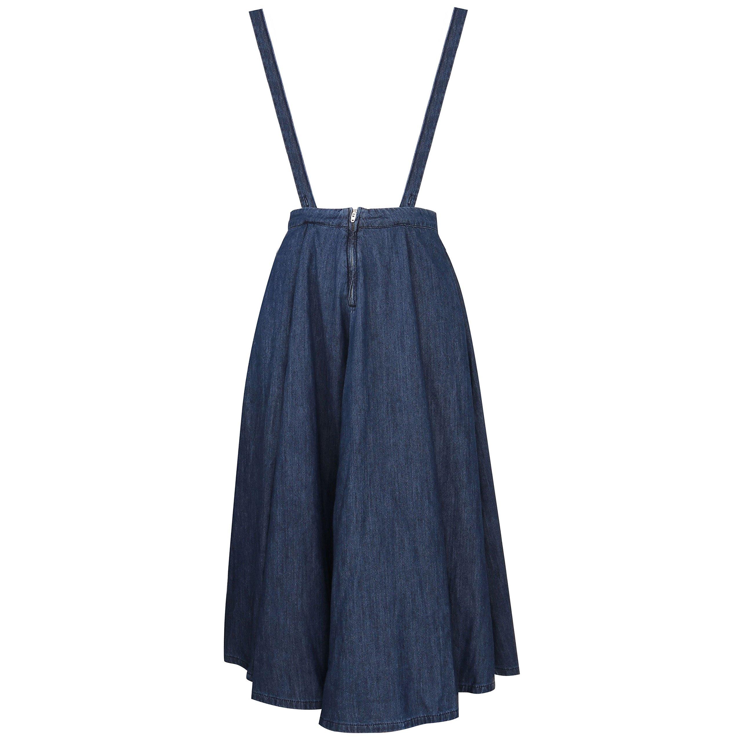 JNTworld Women Mid Rise Halter Straps Denim Skirt Swing Maxi Dress, X-Large, Blue