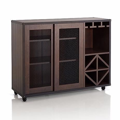Kissemoj Wood Bar Wine Rack Liquor Cabinet Sideboard With 8 Bottle Holder  And Glass Storage