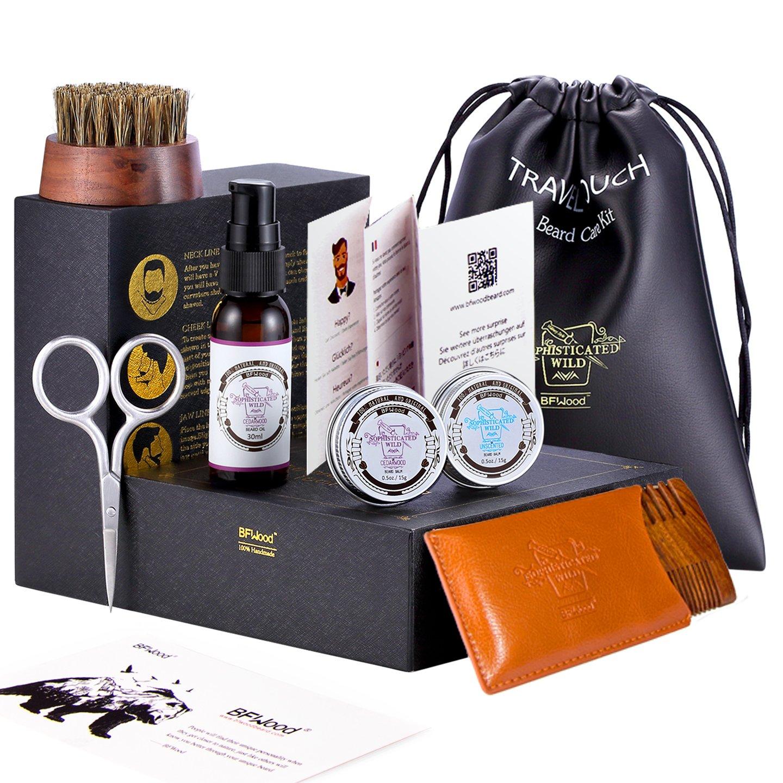 Beard Grooming Dopp Kit – Beard Oil Cedarwood, Beard Brush, Beard Comb, Scissor, Beard Balm Wax Butter for Trimming Softening Shaping Conditioning Styling Gift Set by BFWood