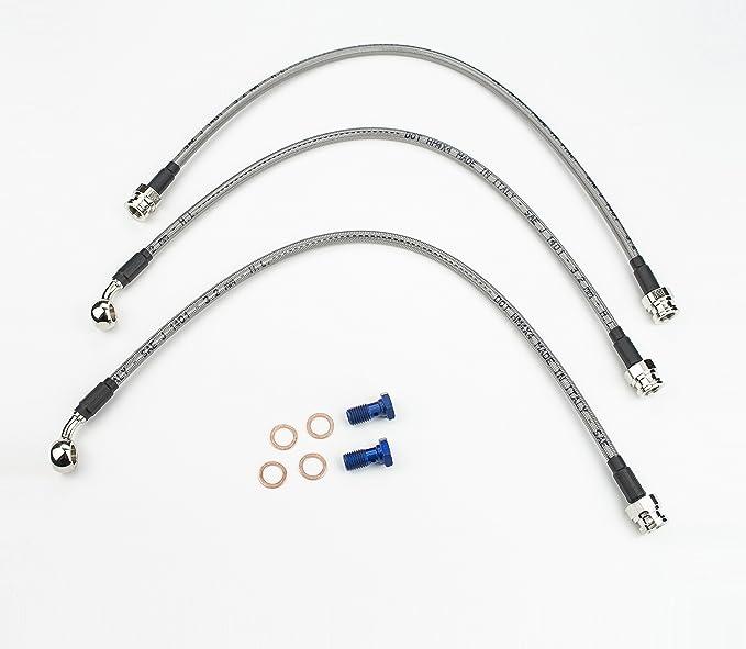 45cm-Giallo Tubo flessibile olio freno moto universale Tubo linea carburante Raccordo acciaio inossidabile intrecciato 45//90cm