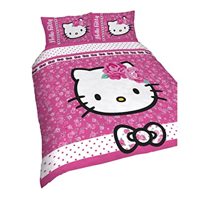 61e878a68 Image Unavailable. Image not available for. Color: Hello Kitty Childrens  Girls Sommerwind Reversible Duvet Cover Bedding Set (Double) (Pink)