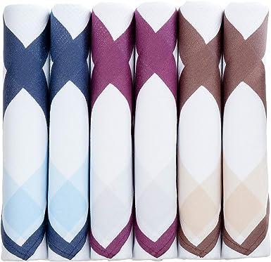 Pañuelos para hombre con borde de color, 6 unidades, 100% algodón ...