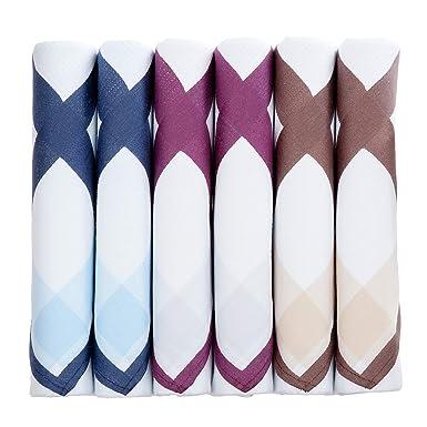 Pañuelos blancos para hombre con borde de color - 6 unidades ...