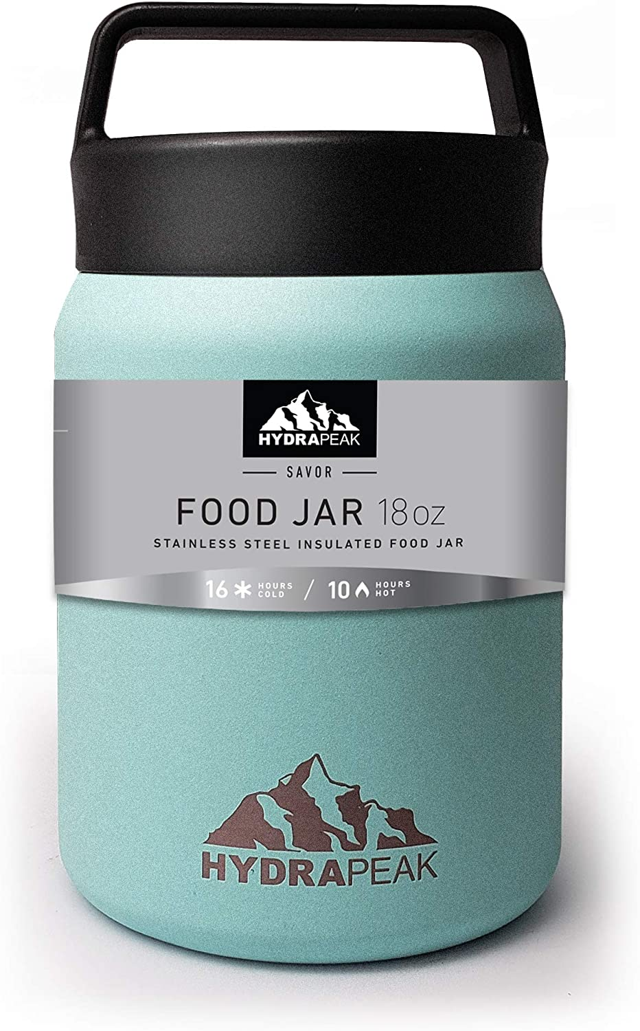 Hydrapeak 18oz Soup Thermos Food Jar | Stainless Steel Double-wall Vacuum Insulated |Travel Food Flask for Kids, Adults, Men, and Women (Aqua, 18oz)