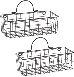 DII Rustic Farmhouse Vintage Hanging Wall Mounted Wire Metal Basket, Set of 2 Small, Black
