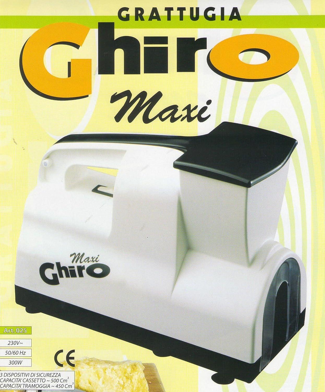 Grattugia elettrica Maxi Ghiro 220 V,motore da 300w, 3 dispositivi di sicurezza, Capacità cassetto 500 cm cubi, Capacità tramoggia 450 cm cubi, Completamente Made in Italy