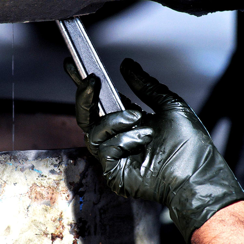 Noir Extra Safe XL 100x Robuste Gants en Nitrile 9-10 Gants jetables sans Poudre sans Latex Grade De M/édicament AQL 1,5 Travail Lourd Nettoyage M/écanique Chimique Jardinage Tatoueur