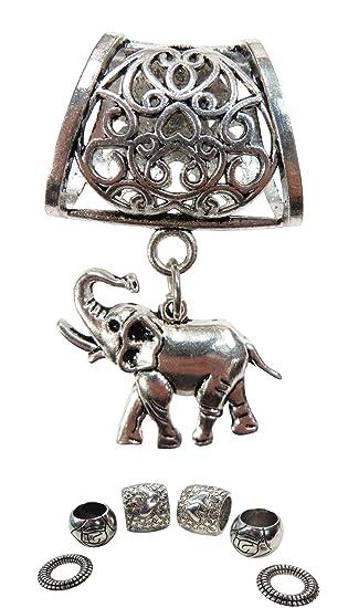 4c90d97e608a5 lucky elephant pendant slide tube scarf rings charm scarf at Amazon ...