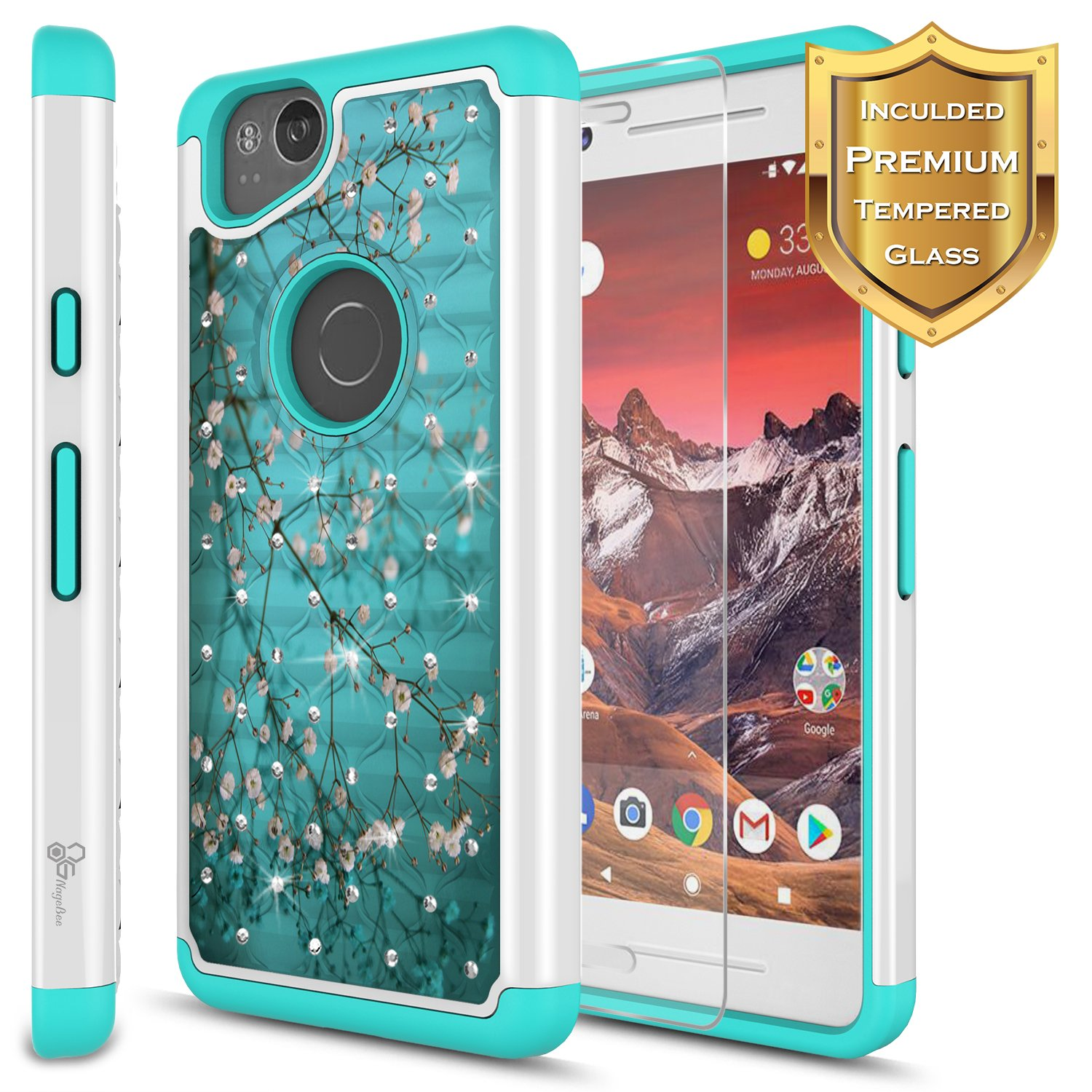 online store 2e5c5 0d41a ZTE Blade Force Case with [Tempered Glass Screen Protector], NageBee  [Hybrid Protective] Armor [Studded Rhinestone Bling] Design Diamond Hard  Case for ...