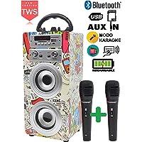 DYNASONIC - Altavoz Bluetooth con Karaoke y Micrófono (Modelo 2)   Radio FM, lectores USB y SD, Batería Recargable (TWS 2 micros)