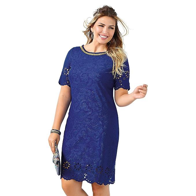VENCA Vestido Escote Barco con pasamanería de Efecto Collar a Contraste muje - 013183: Amazon.es: Ropa y accesorios
