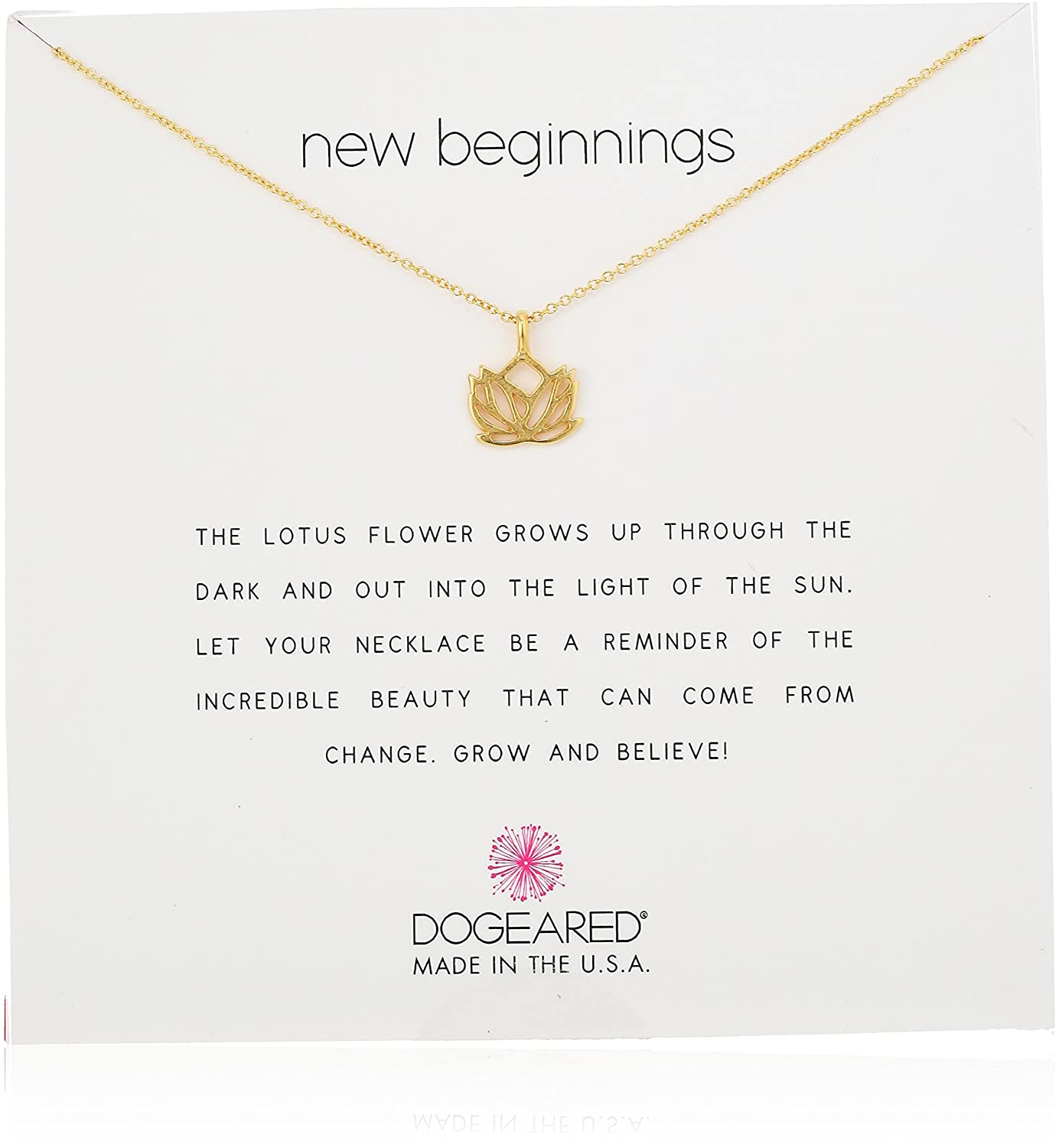 Amazon Dogeared New Beginnings Rising Lotus Gold Dipped 16