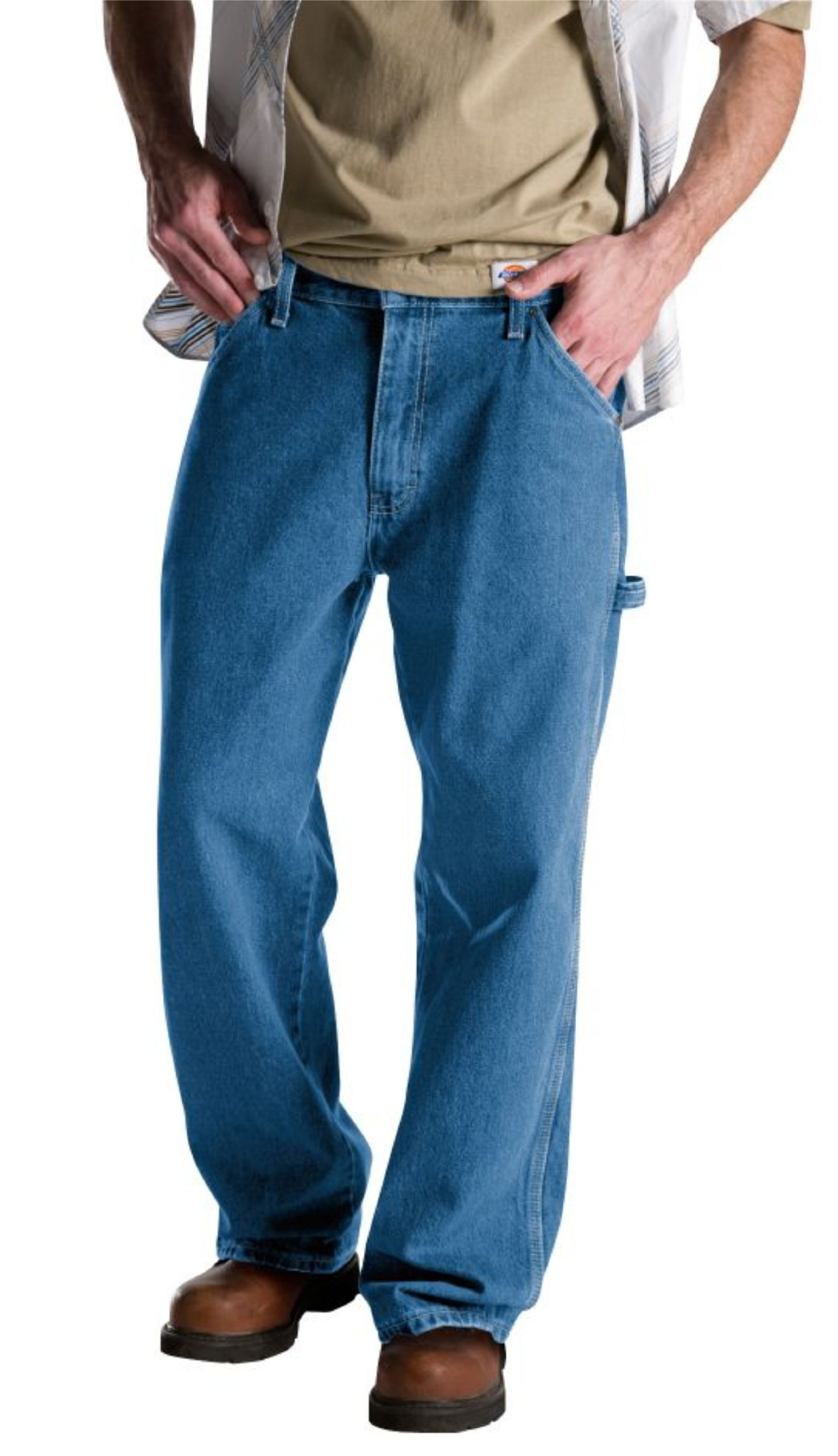 Dickies Men's Relaxed Fit Carpenter Jean, Stone Washed, 38x30