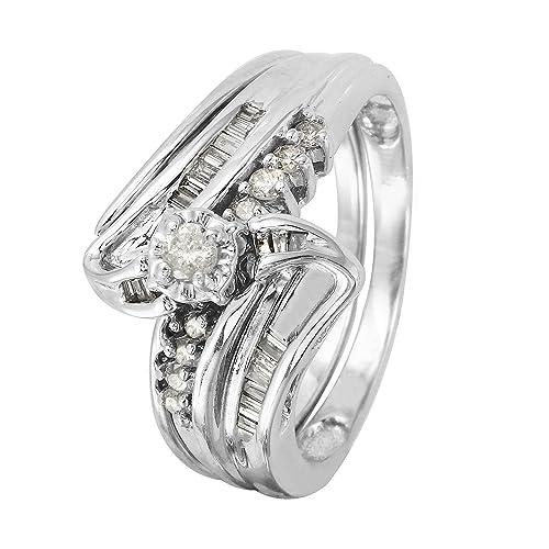 Anillos de boda de oro blanco de 14 quilates con diamantes naturales de 0,41