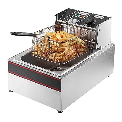 Flexzion Deep Fryer 1700W 6 Liter Stainless Steel Electric Fryer w/Fry  Basket for Commercial Restaurant, Countertop, Kitchen w/Adjustable  Temperature, ...