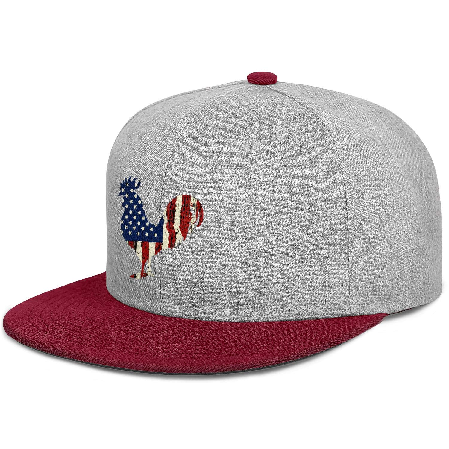 FYFYOK Mens Womens Baseball Hat American Flag and The Rooster 2018 Snapback One Size Caps