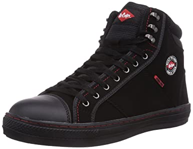 best wholesaler first look free shipping Lee Cooper Workwear LCSHOE022 Mens Womens Unisex PU / Nubuck Leather Retro  Work Safety Boots Baseball Shoes SB/SRA, Black 9 UK, 43 EU
