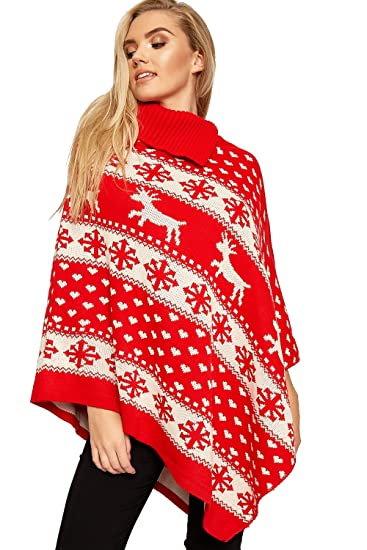 a72bf210 WEARALL Women's Knitted Collar Snowflake Reindeer Xmas Shawl Christmas  Poncho - Red - One Size at Amazon Women's Clothing store: