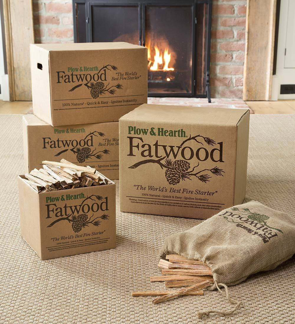 Plow & Hearth Boxed Fatwood Fire Starter All Natural Organic Resin Rich Eco Friendly Kindling Sticks for Wood Stoves Fireplaces Campfires Fire Pits Burns Quickly and Easily Safe Non Toxic (35 LB) by Plow & Hearth