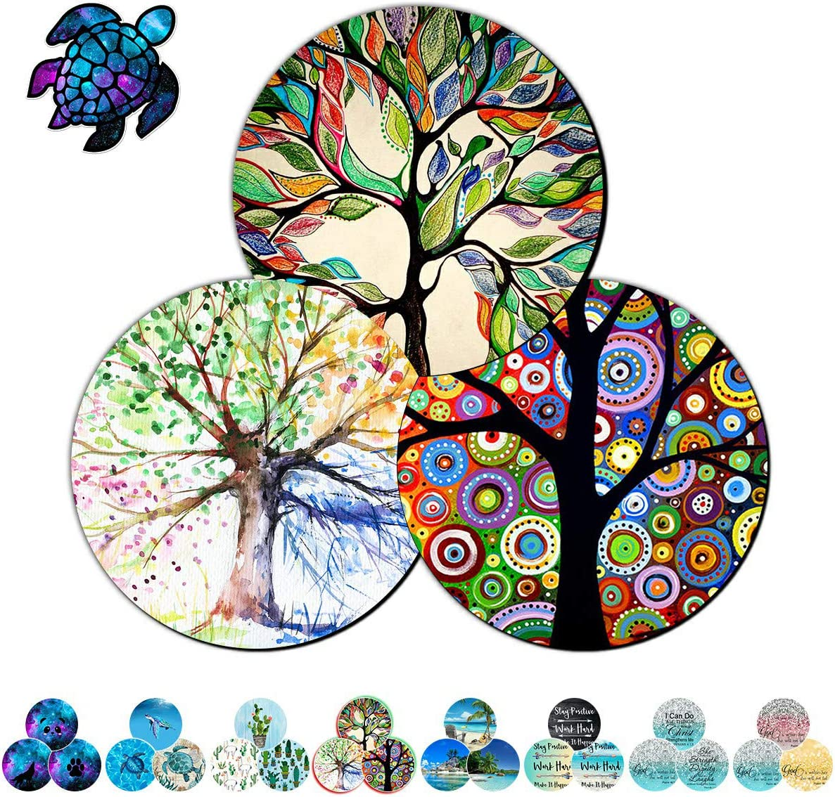 Gaming Mouse Pad Mat for Laptop 3 Pack Tree of Life Mousepads with Cute Stickers Non-Slip Rubber Base Round Mouse Pads for Laptop Compute Working Home Office Accessories