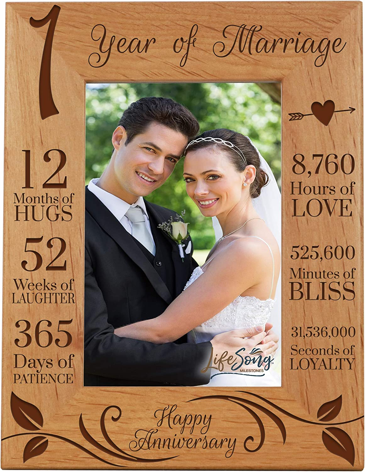 LifeSong Milestones 1st Anniversary Picture Frame 1 Year of Marriage - One Year Wedding Keepsake Gift for Parents Husband Wife him her Holds 4x6 Photo - Happy Anniversary (6.5x8.5)