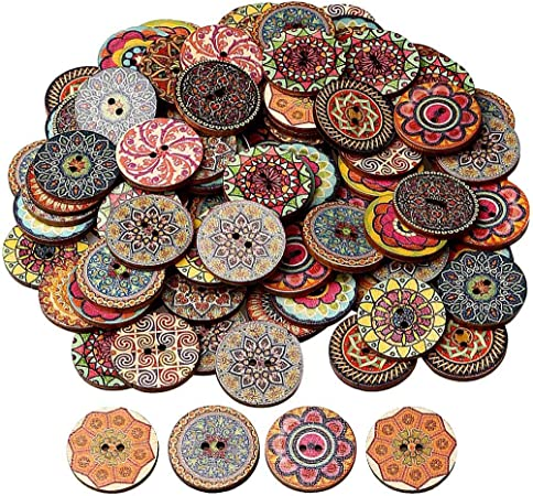 100 Pcs Mixed Color Wood Buttons, EUBags 1 Inch Natural Round Shapes Retro Buttons, Vintage Buttons with 2 Holes for DIY Sewing Crafts