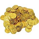 YoungRich 200pcs Monedas de Juguete para Niños de Halloween Moneda de Fiesta Piratas de Plástico Monedas del Tesoro de Plástico Oro para la Caza del Tesoro Juego de Decoración del Partido Regalo 3.5cm