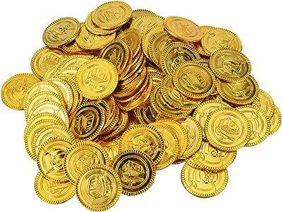 YoungRich 200pcs Monedas de Juguete para Niños de Halloween Moneda de Fiesta Piratas de Plástico Monedas del Tesoro de Plástico Oro para la Caza del Tesoro Juego de Decoración del Partido Regalo