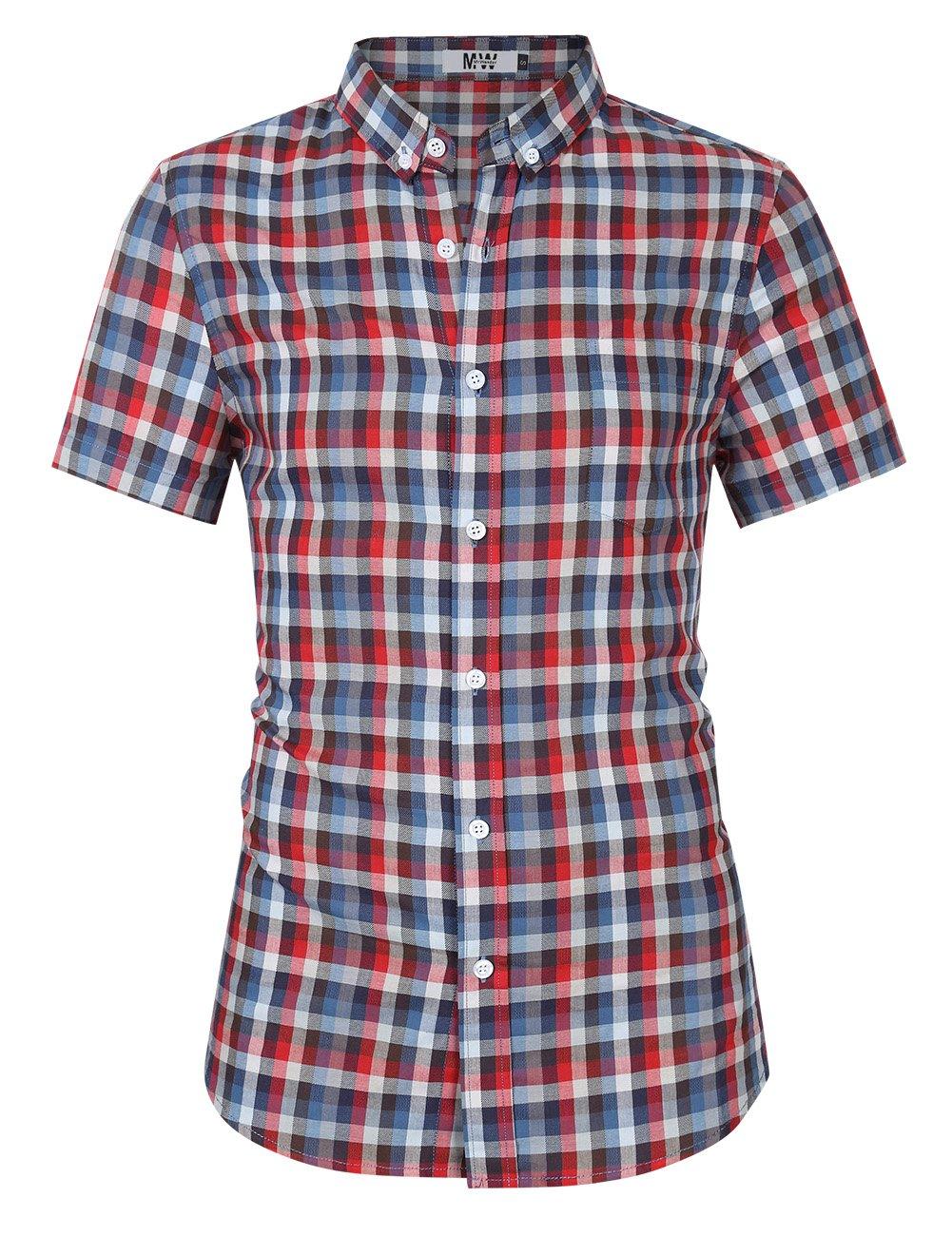 MrWonder Men's Casual Slim Fit Long Sleeve Button Down Shirts Plaid Twill Shirt (L, Red Grey)