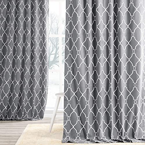 HPD Half Price Drapes PRCT-D05-108 Printed Cotton Curtain 1 Panel , 50 X 108, Aiden Gray