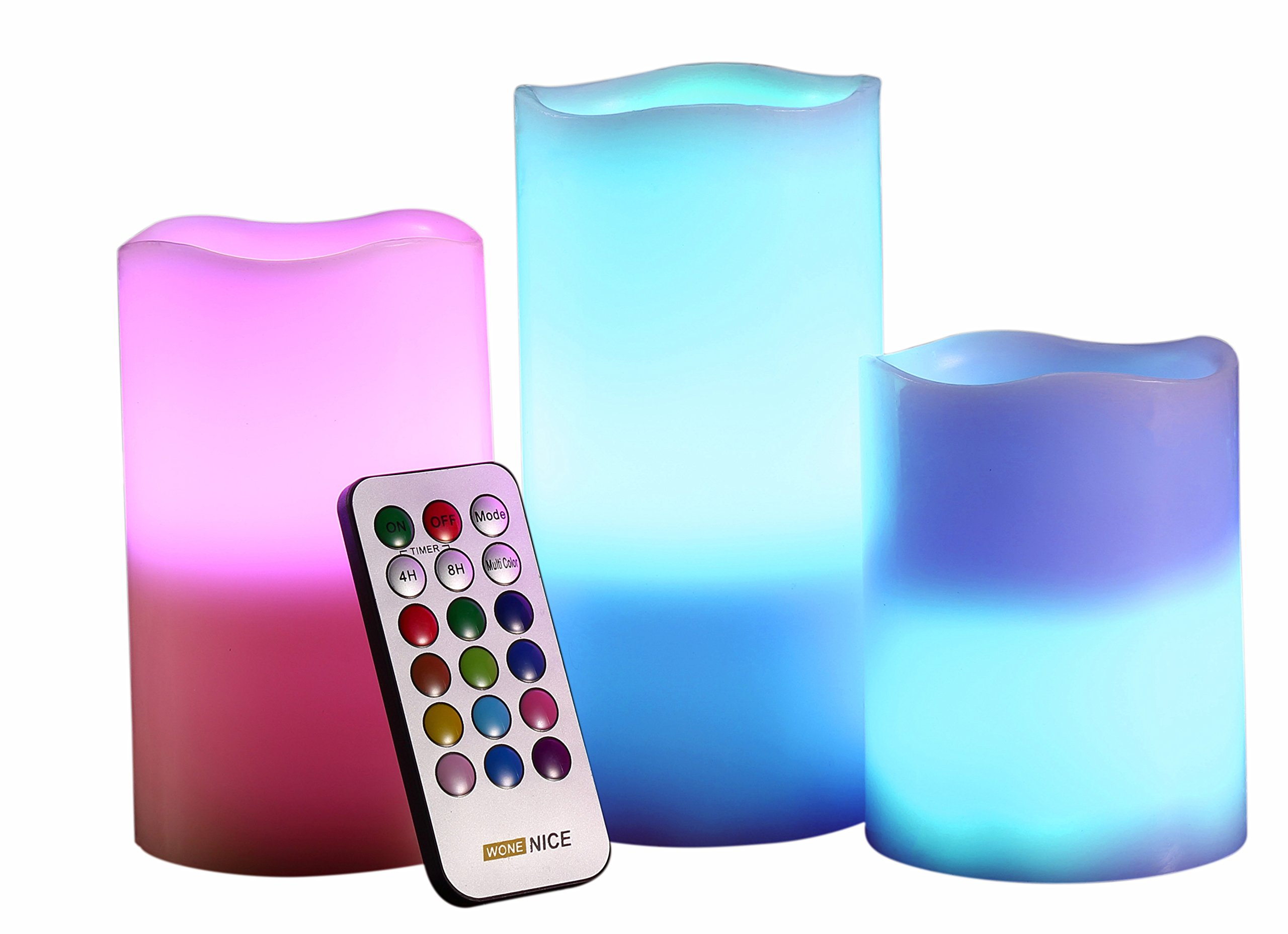 WoneNice Flickering Flameless Candles, Battery Operated Round Ivory Wax Pillar LED Candles With Flickering Multi Colored Flame, Auto-Off Timer Remote Control, Decorations for Weddings Gifts, Set of 3 by WoneNice