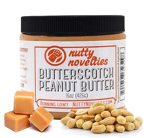 Nutty Novelties Butterscotch Peanut Butter - High Protein, Low Sugar Healthy Peanut Butter - All-Natural Peanut Butter Free of Cholesterol, Preservatives & Salt - Creamy Peanut Butter - 15 Ounces