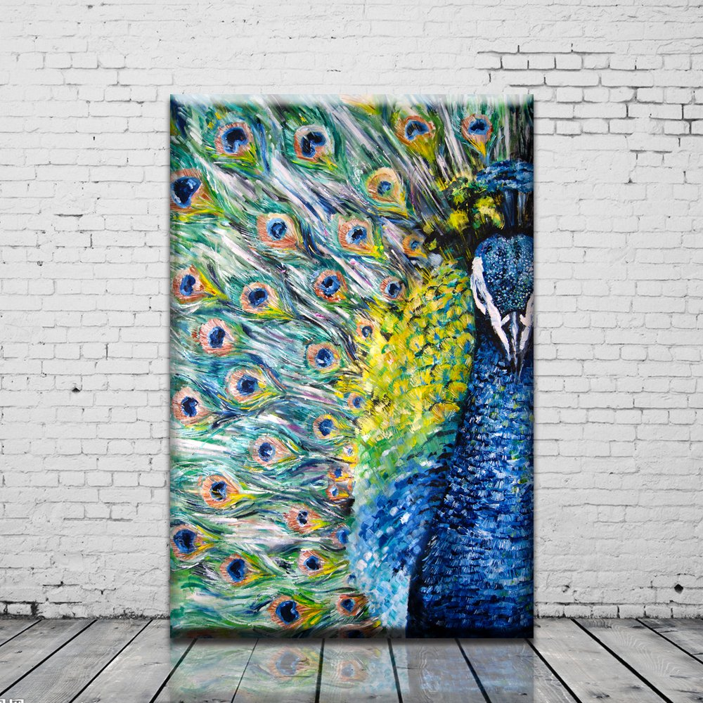 Amazon com peacock wall artwork prints oil painting art modern