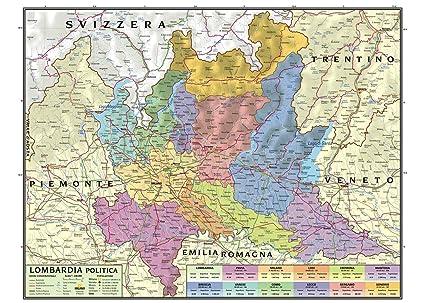 Cartina Geografica Lombardia Dettagliata.Carta Geografica Murale Regionale Lombardia 100x140 Bifacciale