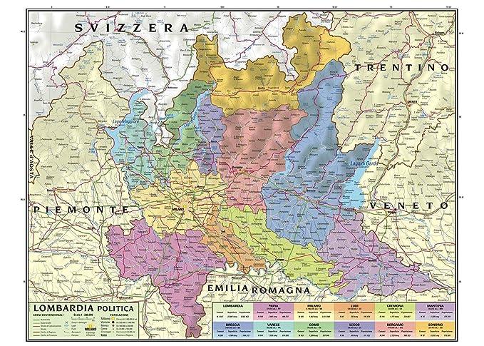 Cartina Lombardia.Carta Geografica Murale Regionale Lombardia 100x140