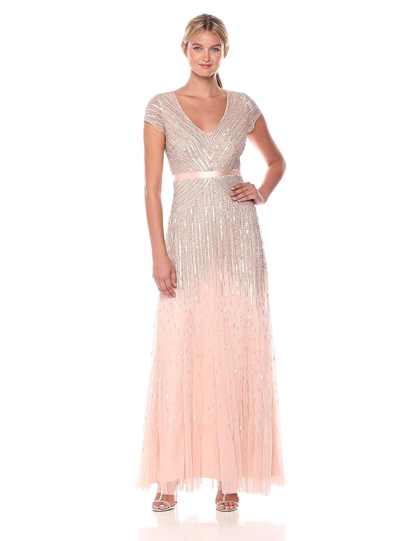 Amazon.com: Adrianna Papell Women\'s Long Beaded V-Neck Dress With ...