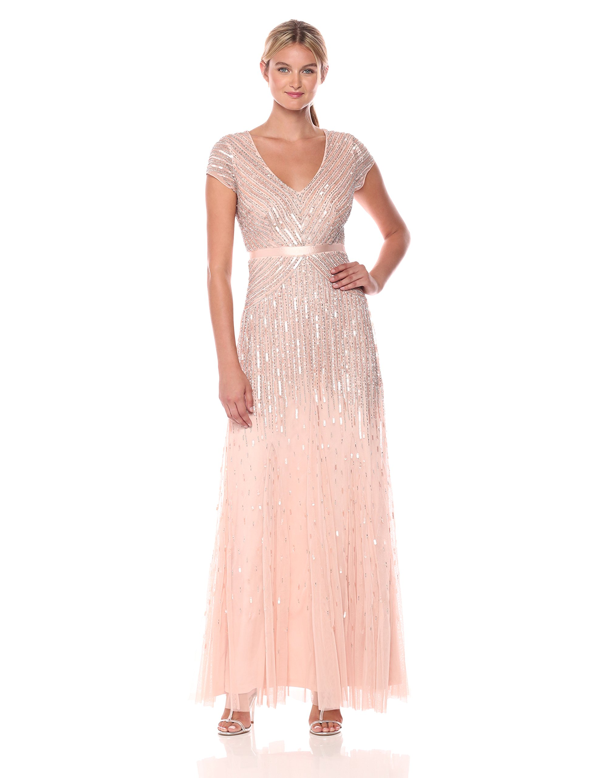 Galleon Adrianna Papell Womens Long Beaded V Neck Dress With Cap