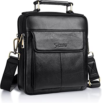 Adjustable Men/'s Genuine Leather Handbag Briefcase Shoulder Messenger Bag Purse