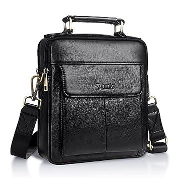 ef59d5cd25fa Sunmig Men's Genuine Leather Shoulder Bag Messenger Briefcase CrossBody  Handbag (Black)