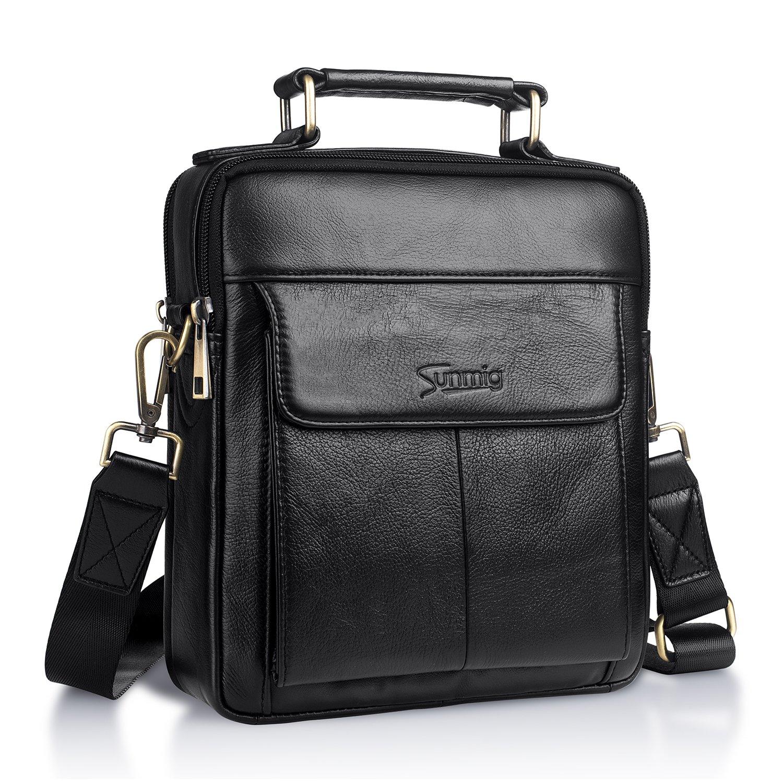 Sunmig Men's Genuine Leather Shoulder Bag Messenger Briefcase CrossBody Handbag (Black)