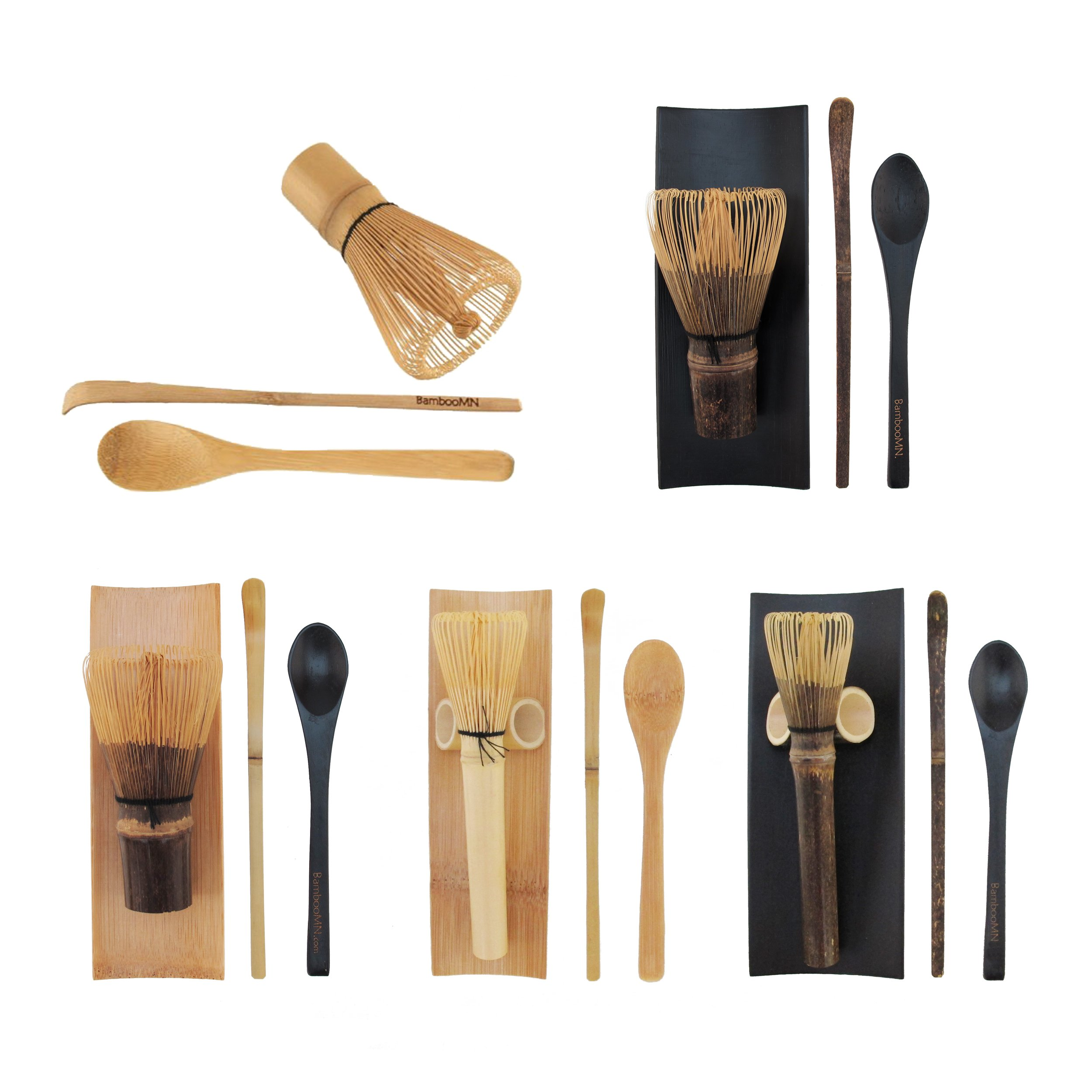 BambooMN Matcha Whisk Set - Golden Chasen (Tea Whisk), Chashaku (Hooked Bamboo Scoop), Tea Spoon - 10 Sets by BambooMN (Image #2)