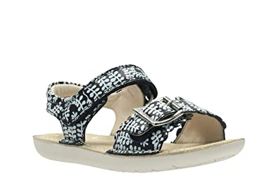 b34383a591b5 Clarks Girls Out-of-School Ivyblossom Inf Leather Sandals in Navy Floral  Wide Fit