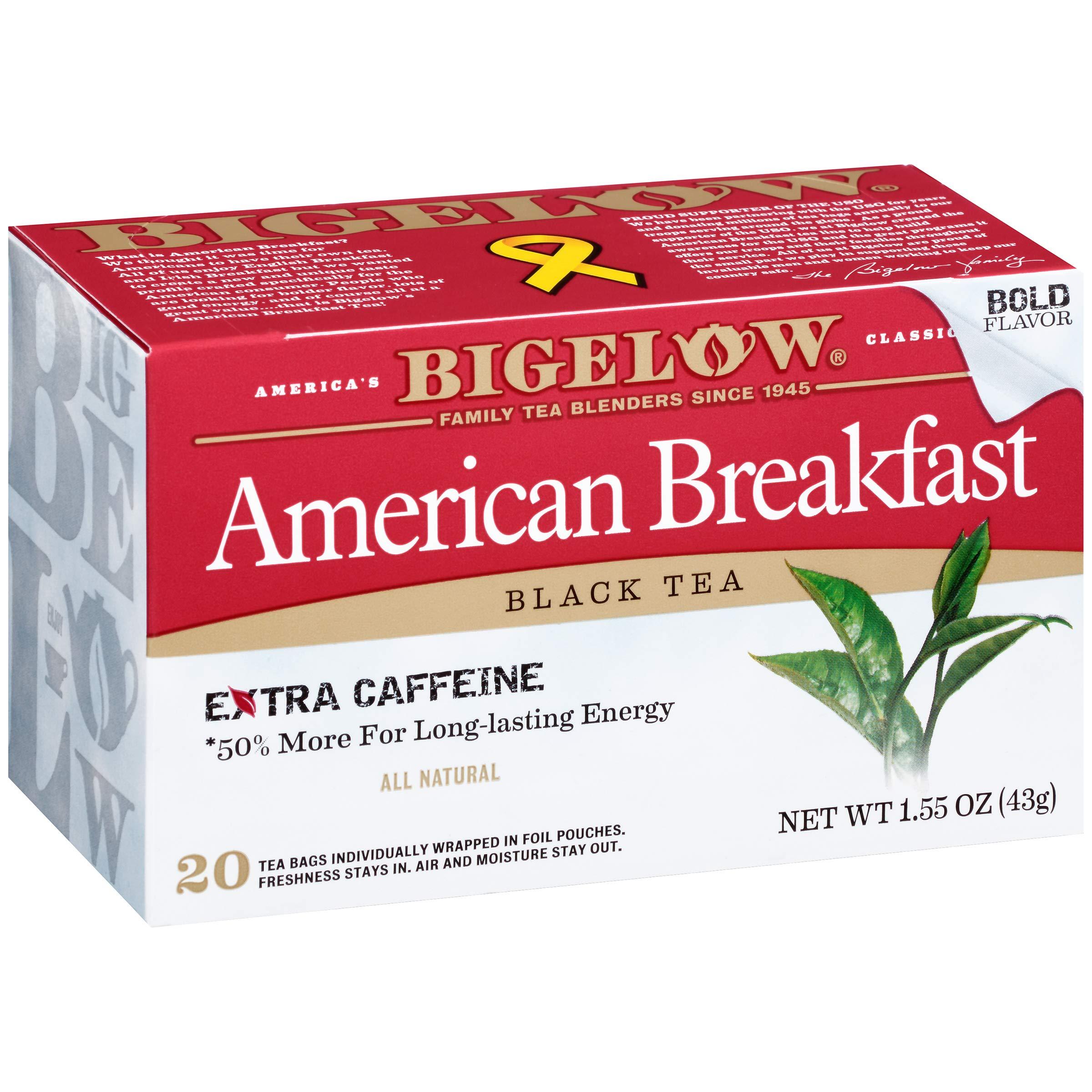 Bigelow American Breakfast Black Tea 20 Bags (Pack of 6), 120 Tea Bags Total.   Caffeinated Individual Black Tea Bags, for Hot Tea or Iced Tea, Drink Plain or Sweetened with Honey or Sugar by Bigelow