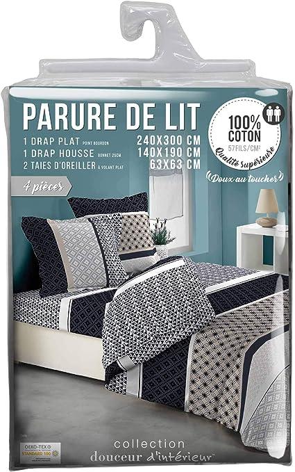 Douceur dInt/érieur Parure Drap 4 Pi/èces Imprime Zelis