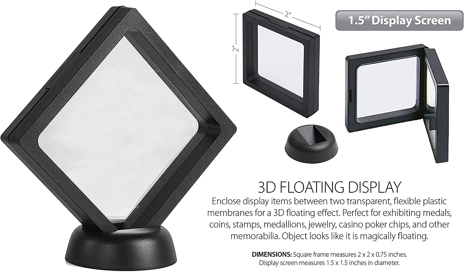 Set of 5-3D Floating Frame Display Holder with Stands Coin Display Stand