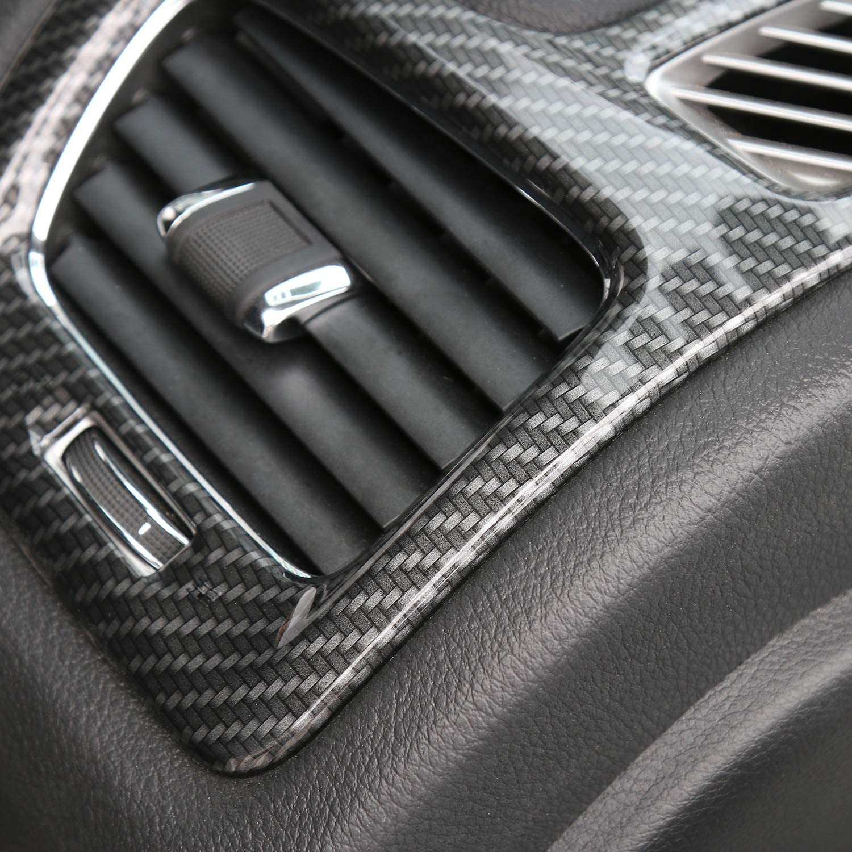 Carbon Fiber Grain Dashboard Left /& Right AC Air Vent Cover Trim for 2017-2020 Jeep Compass
