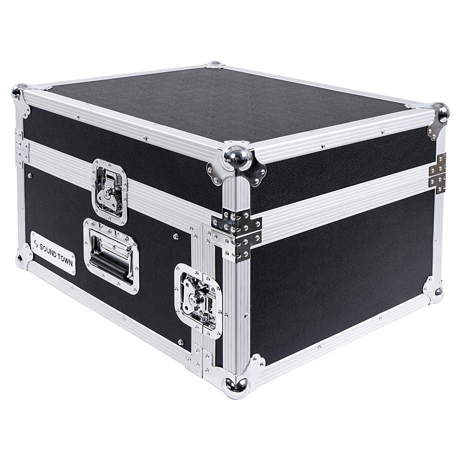 Sound Town 12-Space PA/DJ Pro Audio Rack/Road Case with Slant Mixer Top (STMR-12UW)