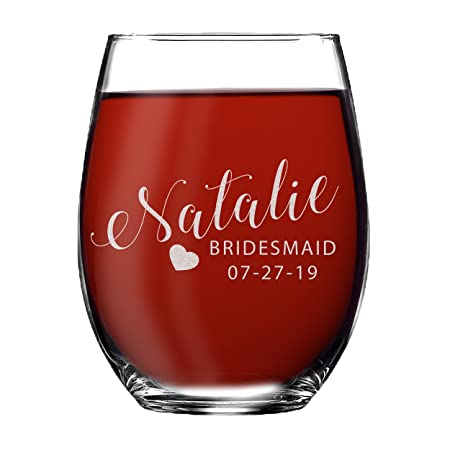 Set of 1, 2, 3, 4, 5, 6, 7, 8 Custom Engraved Bridesmaid Gifts – Personalized Stemless Wine Glasses – Passion Style 3
