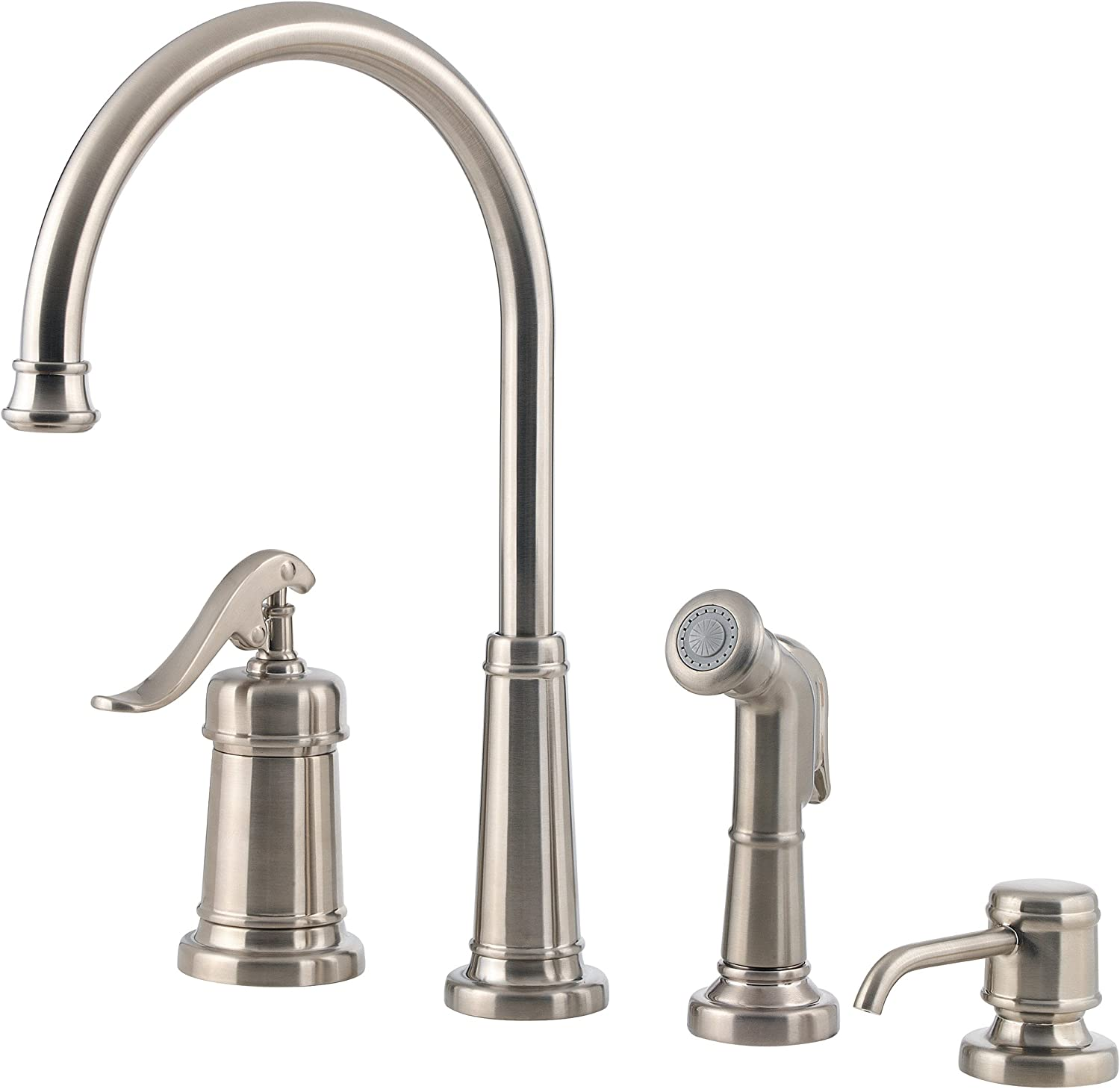 Pfister LG264YPK Ashfield 1-Handle Kitchen Faucet with Side Spray Soap Dispenser, Brushed Nickel, 1.8 gpm