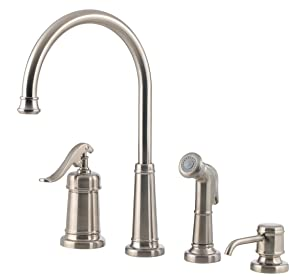 Pfister LG264YPK Ashfield 1-Handle Kitchen Faucet with Side Spray & Soap Dispenser, Brushed Nickel, 1.8 gpm